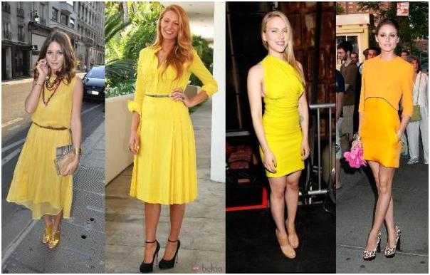 Какого цвета обувь подойдет к желтому платью 1