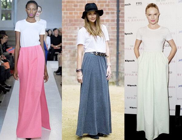 С чем носить юбку - макси? 12