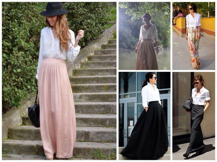 С чем носить юбку - макси? 4