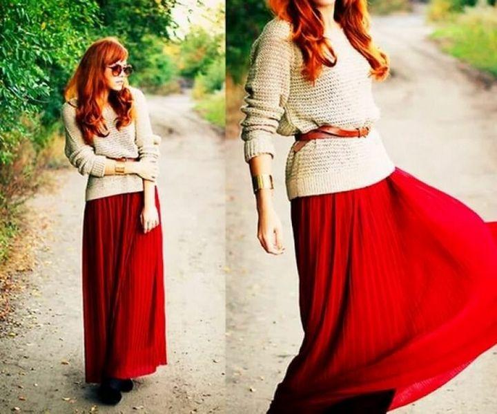 С чем носить юбку - макси? 7