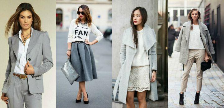 Сочетание в одежде серых оттенков 2