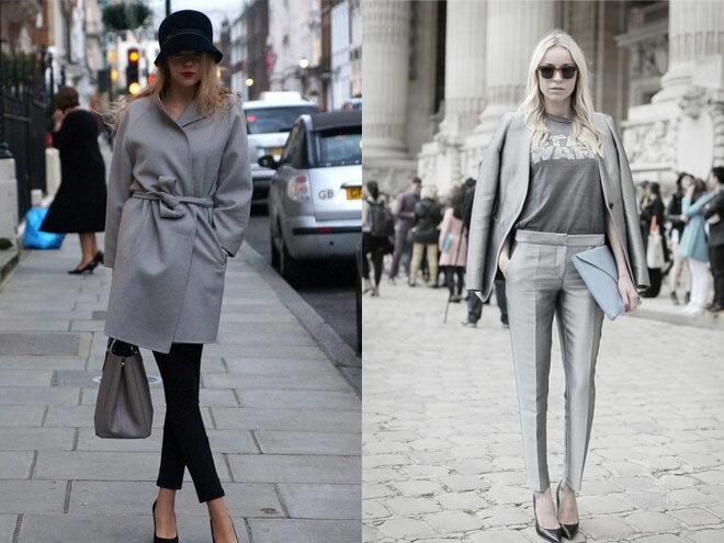 Сочетание в одежде серых оттенков 16
